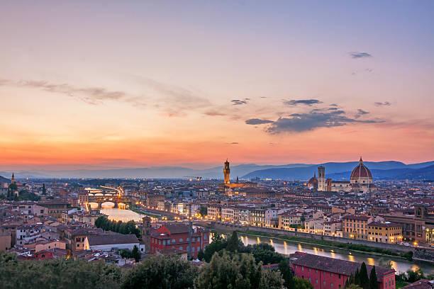 panoramablick auf florenz  - giotto stock-fotos und bilder