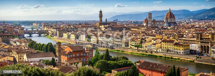 high resolution and Long exposure panoramic view of Florence Skyline at Sunset with ponte vecchio and Santa Maria del Fiore Duomo. Italy