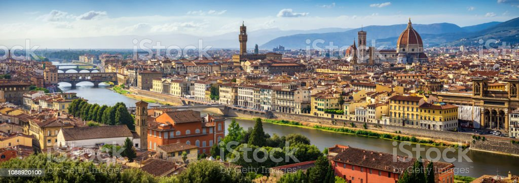 panoramic view of Florence Skyline at Sunset. Italy stock photo