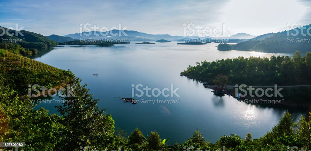 Panoramic view of foggy morning in Vietnam at river стоковое фото