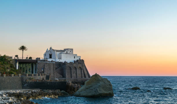 Panoramic view of Forio at sunset, Soccorso Church, Ischia, Phlegrean Islands, Tyrrhenian Sea, Italy, South Europe stock photo
