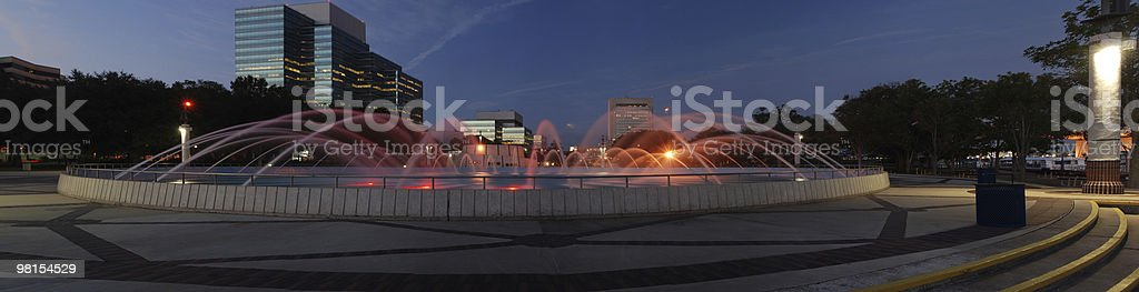 Panoramic view of fountain in Jacksonville river front royalty-free stock photo