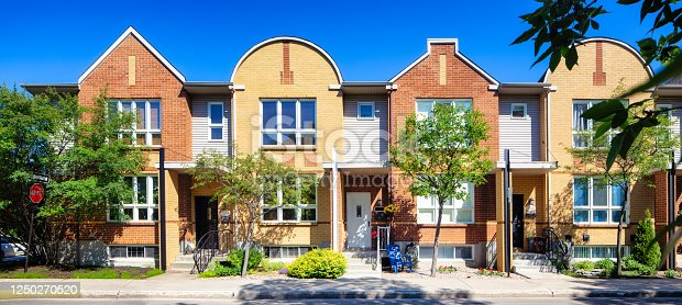 istock Panoramic view of four modern Montreal townhouses in a row 1250270520