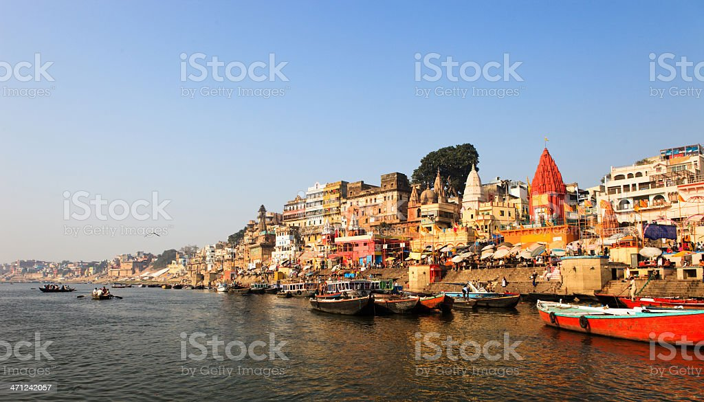 Panoramic view of Ganges river during the morning stock photo