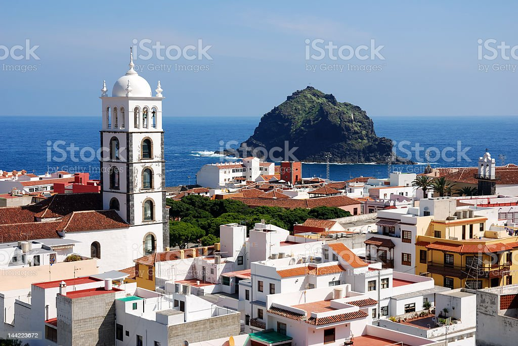 panoramic view of Garachico, Tenerife, Canary Islands stock photo