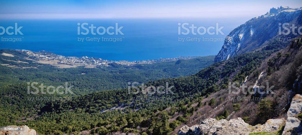 Panoramic view of Gaspra city and Black sea from the top of Ai-Petri plato, Crimea, Yalta region stock photo