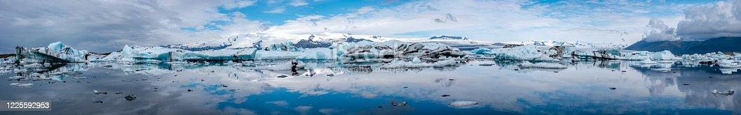 istock Panoramic view of Glacier Lagoon Jokulsarlon with icebergs and Vatnajokull Glacier tongue, Iceland, summer 1225592953