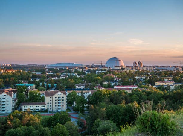 Panoramic view of Globen and Nya Söderstadion in south of Stockholm. stock photo