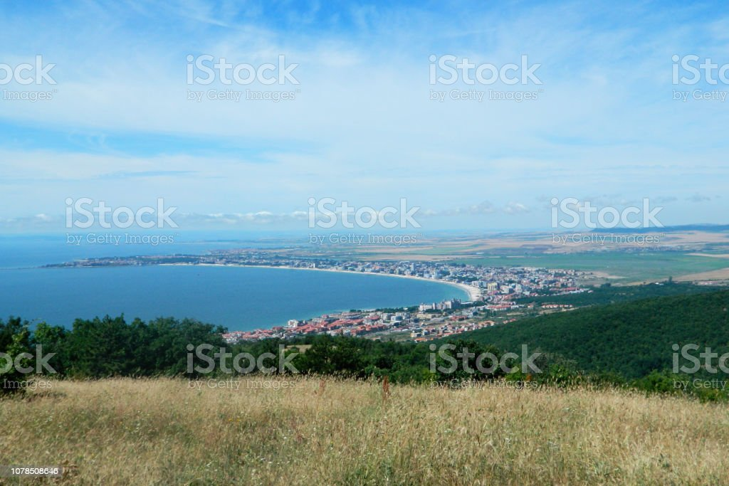 Panoramic view of Golden Sands beach in Bulgaria stock photo