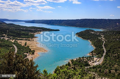 Gorges Du Verdon river canyon between mountains; Provence, France