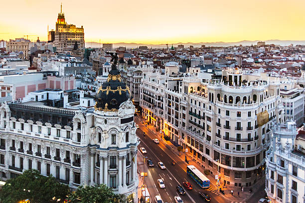 panoramic view of gran via, madrid, spain. - madrid stok fotoğraflar ve resimler