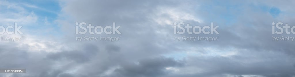 Panoramic View of Gray Clouds Covering Blue Skies On a Windy Day