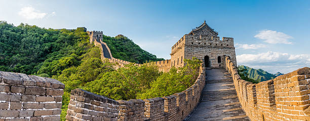 panoramic view of great wall of china - 北京 ストックフォトと画像