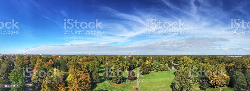 Panoramic view of greenery park stock photo