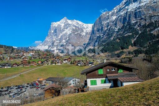 istock Panoramic view of Grindelwald beautiful village in mountain scenery, Switzerland 944526420