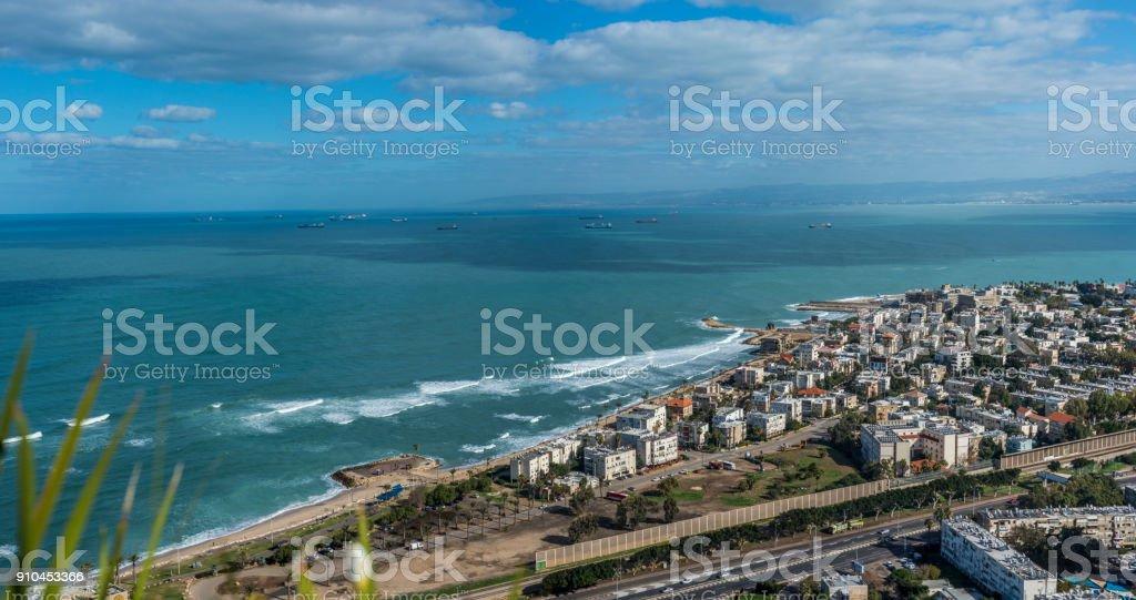 Panoramic view of Haifa bay, Israel stock photo