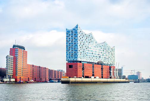 panoramic view of Hamburg city and Elbphilharmonie