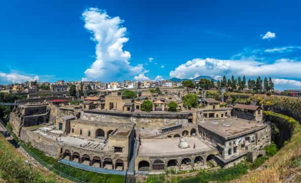 Panoramic view of Herculaneum ancient roman ruins stock photo