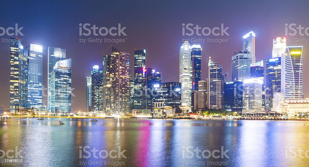 Panoramic view of  High rise buildings at night royalty-free stock photo