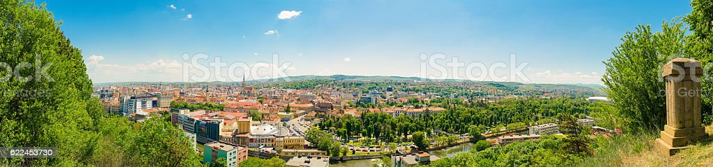 Panoramic view of historic center of Cluj Napoca stock photo