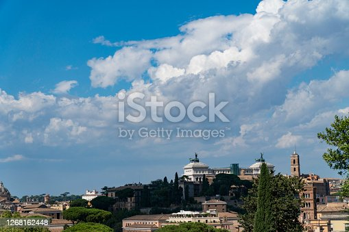 Panoramic view of historic center of Rome, Italy. Altare della Patria monument view from top. Beautiful view of Rome, sunny summer evening.