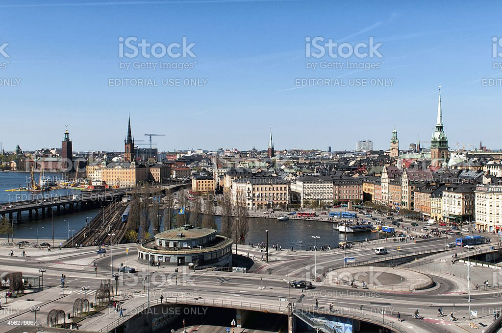 Panoramic view of historic Stockholm stock photo