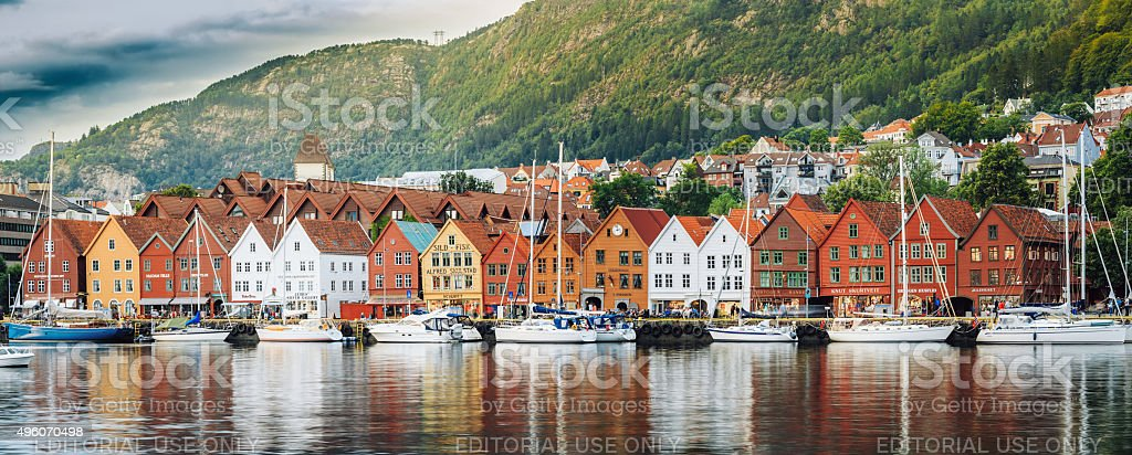 Panoramic view of historical architecture, buildings, Bryggen in stock photo