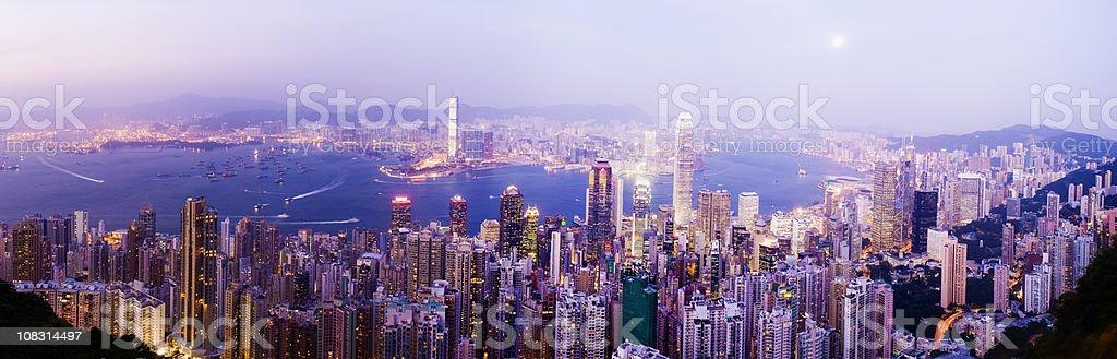Panoramic View of Hong Kong City Skyline at Night China royalty-free stock photo