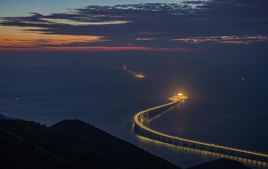 Panoramic view of Hong Kong-Zhuhai-Macau Bridge is seen at sunset. The 55km bridge, the world's longest sea crossing, will open on October 24, 2018.