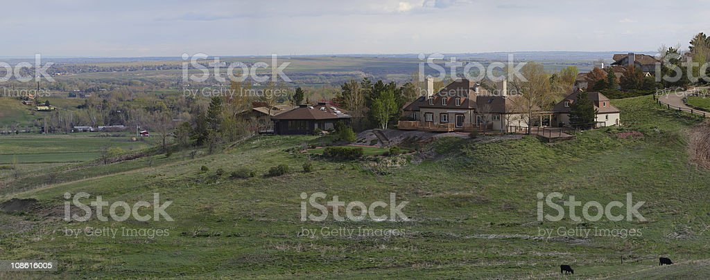 Panoramic view of house on the hills stock photo