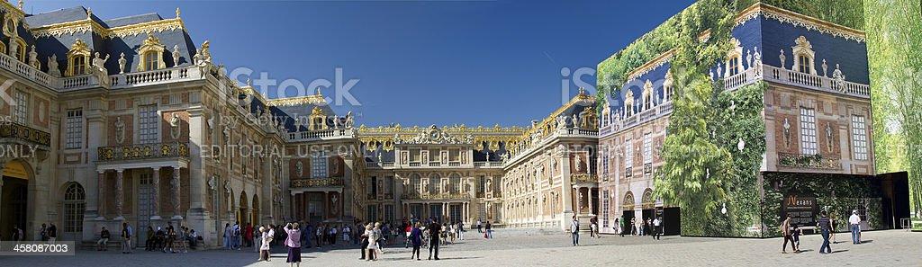 Panoramic view of interior court - Palace de Versailles stock photo