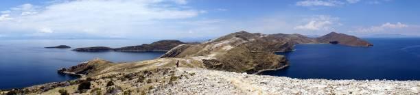 Panoramic view of Isla del Sol, Bolivia stock photo
