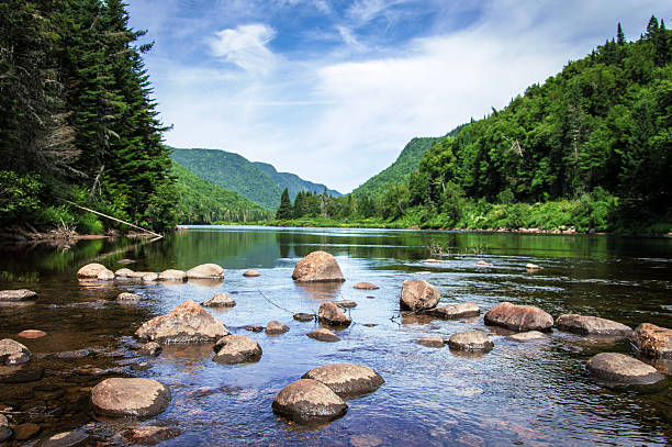 Panoramic view of Jacques Cartier River stock photo