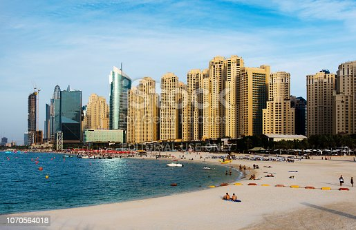 istock Panoramic view of JBR, Jumeirah Beach Residence popular travel spot in Dubai a complex of beachfront hotels and residential buildings 1070564018