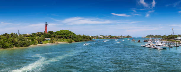 Panoramic view of Jupiter lighthouse and marina in West Palm Beach, Florida stock photo