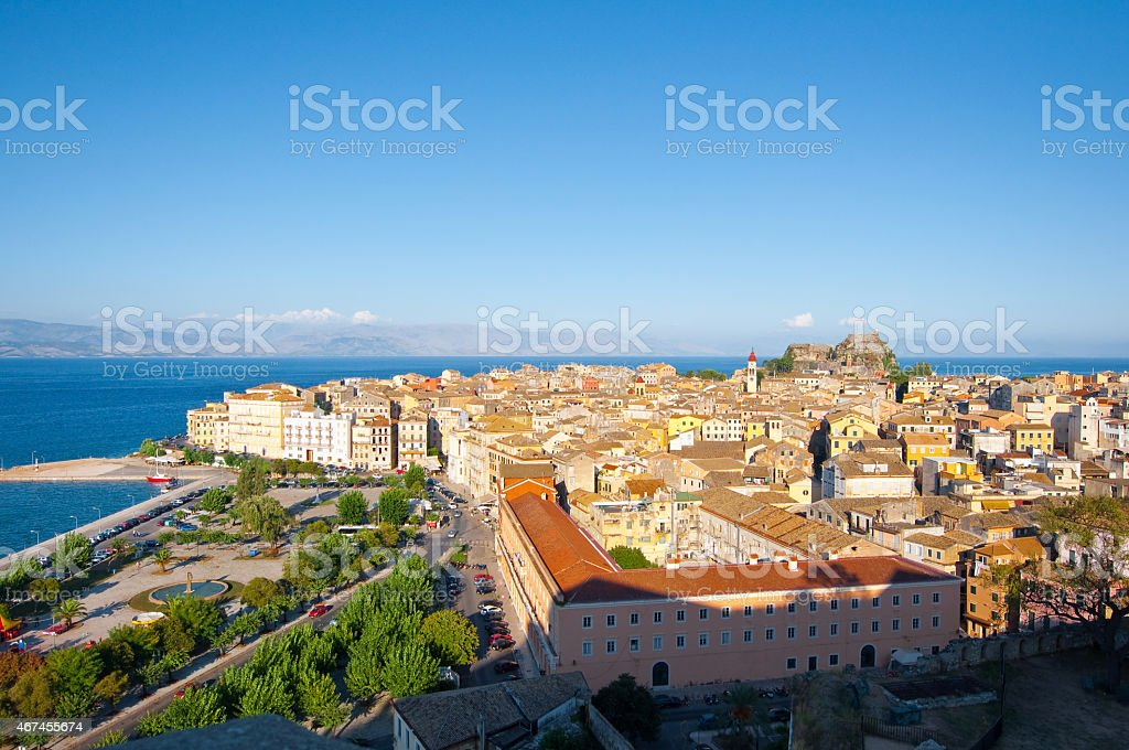 Panoramic view of Kerkyra cityscape on Corfu island, Greece. stock photo