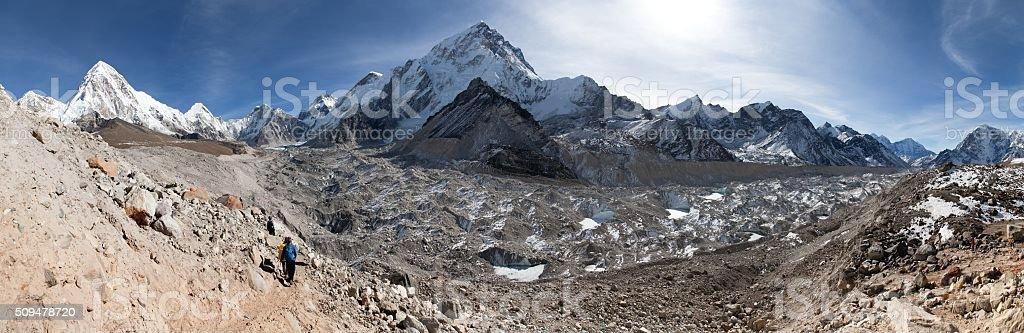 Panoramic view of khumbu glacier, Nuptse and Pumo Ri stock photo