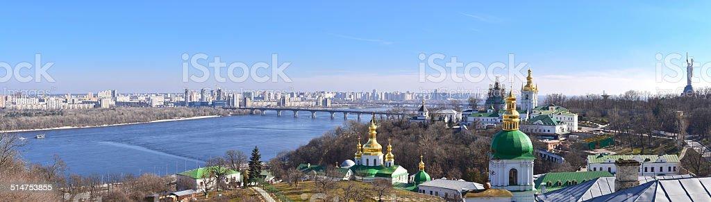Panoramic view of Kiev from Kiev Pechersk Lavra Panoramic view of Kiev from Kiev Pechersk Lavra, Ukraine Architectural Dome Stock Photo