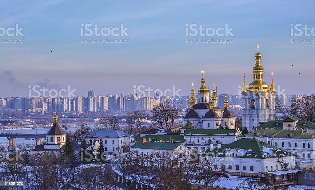 Panoramic view of Kiev Pechersk Lavra Monastery stock photo