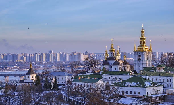 panoramic view of kiev pechersk lavra monastery - 우크라이나 뉴스 사진 이미지