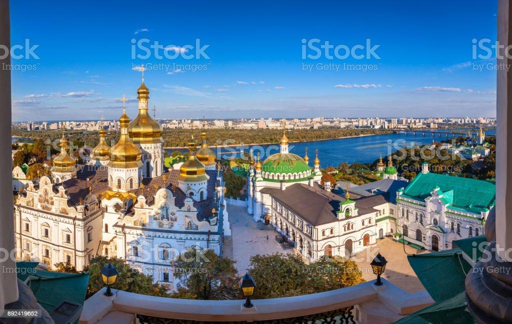 Panoramic view of Kiev Pechersk Lavra, Orthodox Monastery and Dnepr river. Kiev, Ukraine. stock photo
