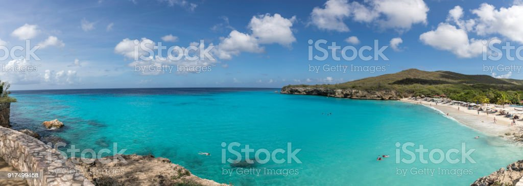 Panoramic View of Knip Beach and Caribbean Sea in Curacao stock photo