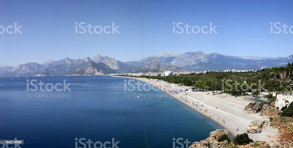 Panoramic view of Konyaalti beach XXXL stock photo
