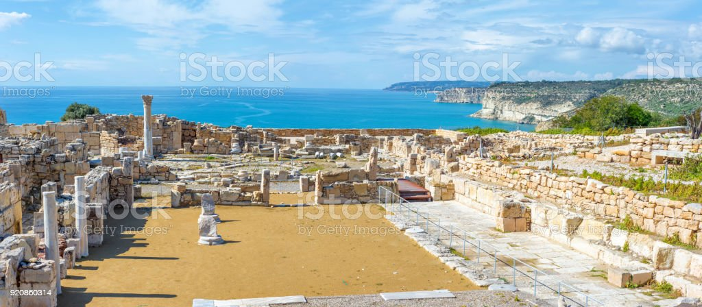 Panoramic view of Kourion archaeological site. Limassol District, Cyprus Panoramic view of Kourion archaeological site. Limassol District, Cyprus Ancient Stock Photo