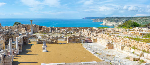Panoramic view of Kourion archaeological site. Limassol District, Cyprus stock photo