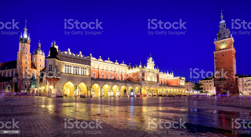Panoramic view of Krakow Old Town Main Square, Poland foto stock royalty-free