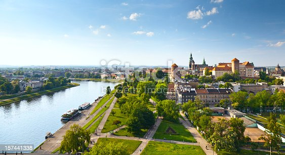 Daytime panorama of Krakow, Poland, featuring Wawel Castle.  The Vistula River flows along the left side of the image, and the castle is visible on the right, near the horizon.  There is a blue sky with sparse, wispy clouds above the horizon and a manicured lawn intersected by walking paths in the foreground.