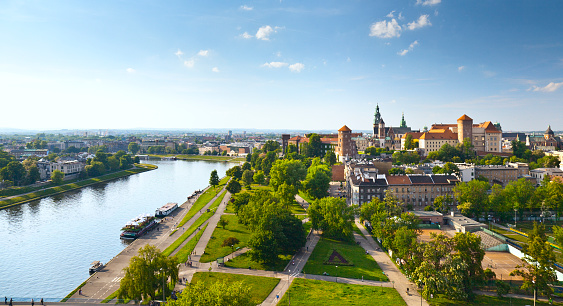Panoramic view of Krakow, Poland from Wawel Castle