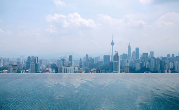 Panoramic view of Kuala Lumpur from a balcony pool stock photo