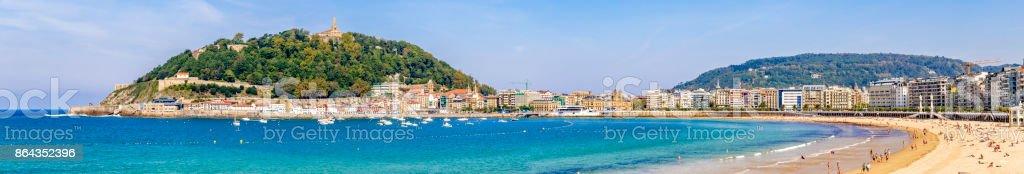 Panoramic view of La Concha bay and beach, San Sebastian, Donostia, Basque Country, Spain stock photo